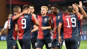 Genoa celebrates Piatek goal vs. Empoli