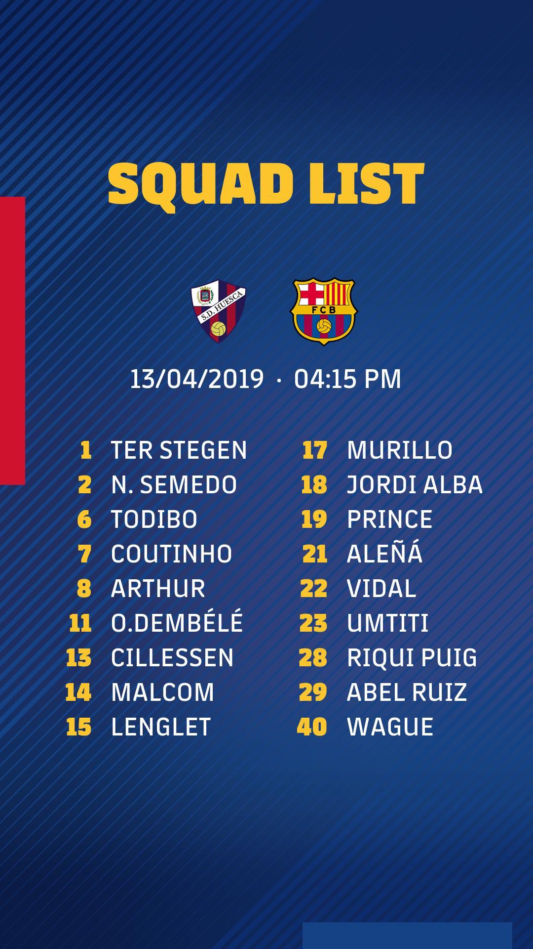 Barcelona squad vs Huesca La Liga 2018-19 MD32