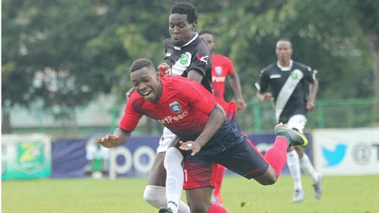 Stanslus Akiya of Zoo FC and Jafari Odenyi of AFC Leopards.