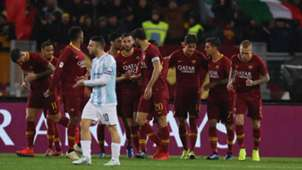 Roma players celebrating Roma Entella Coppa Italia