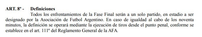 Reglamento Copa Argentina 2018 Definicion penales