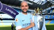 Pep Guardiola Manchester City Premier League trophy