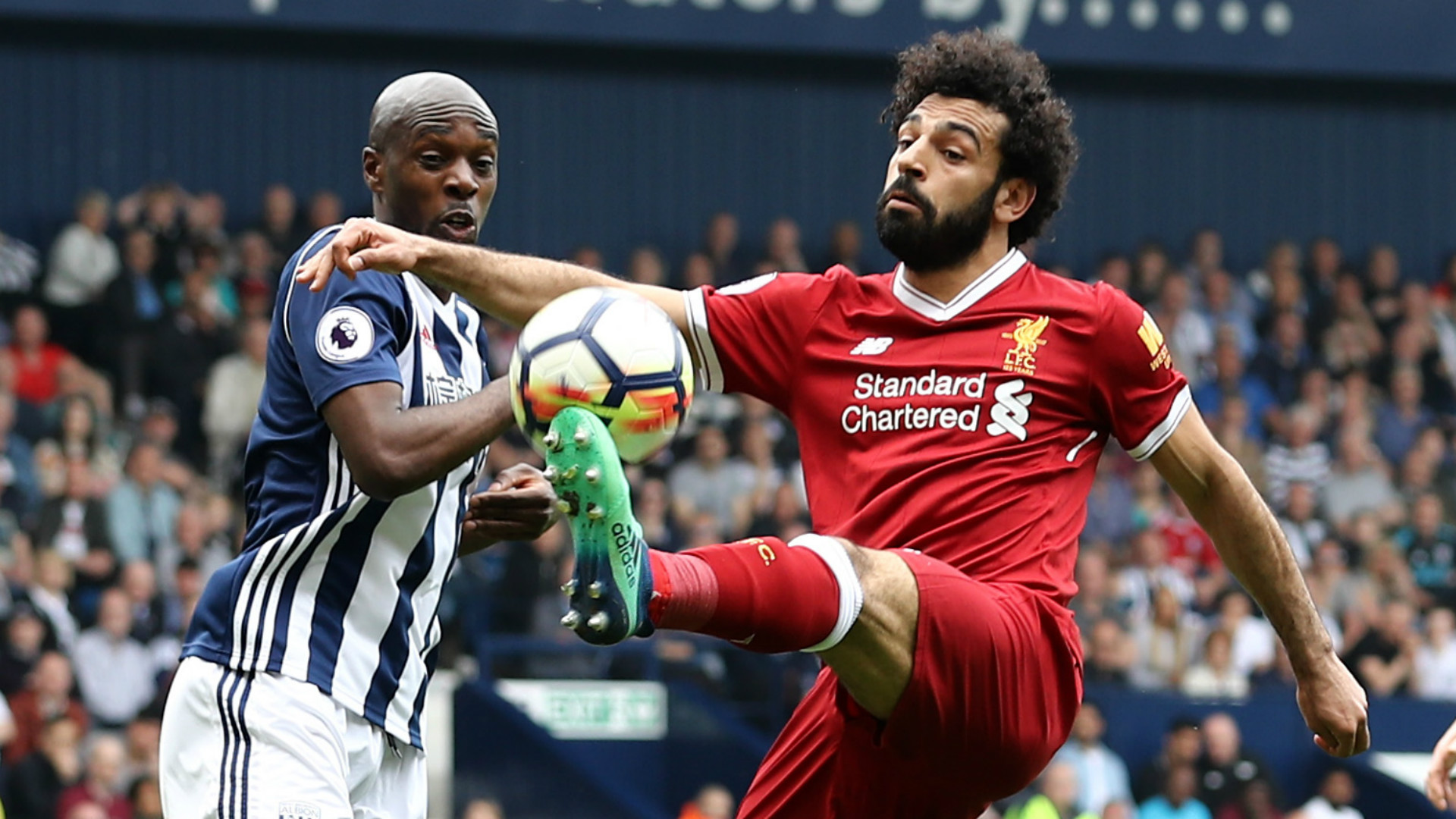 ALLAN NYOM WEST BROMWICH MOHAMED SALAH LIVERPOOL PREMIER LEAGUE 21042018