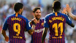 Lionel Messi Luis Suarez Ousmane Dembele FC Barcelona 2018-19