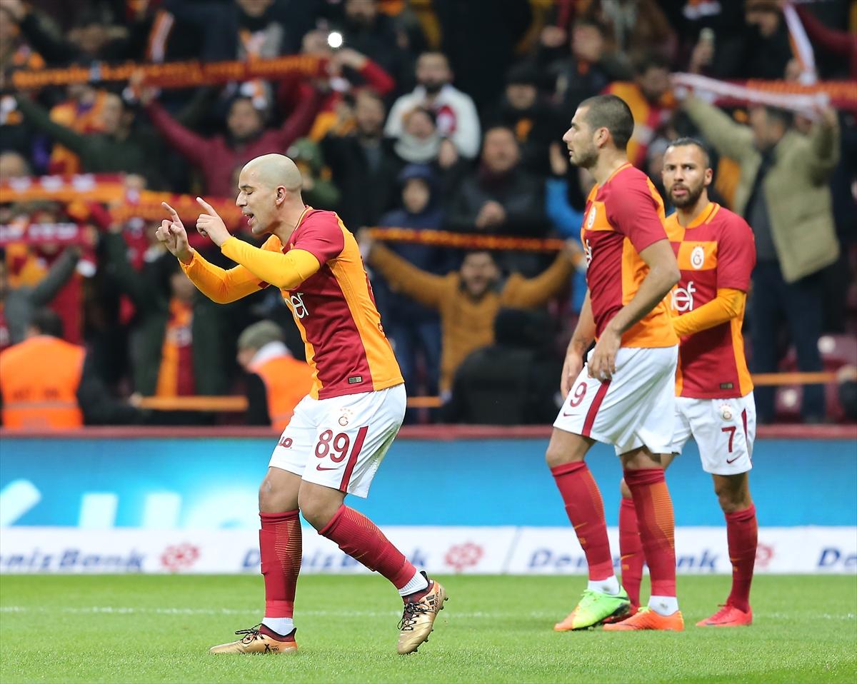 Sofiane Feghouli Eren Derdiyok Yasin Oztekin Galatasaray Osmanlispor 01/27/18