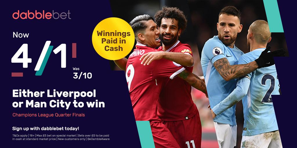 dabblebet enhanced offer Man City v Liverpool