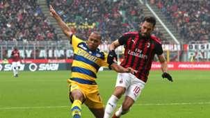 Jonathan Biabiany Hakan Calhanoglu Milan Parma