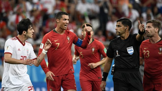 Cristiano Ronaldo referee Portugal Iran World Cup 2018