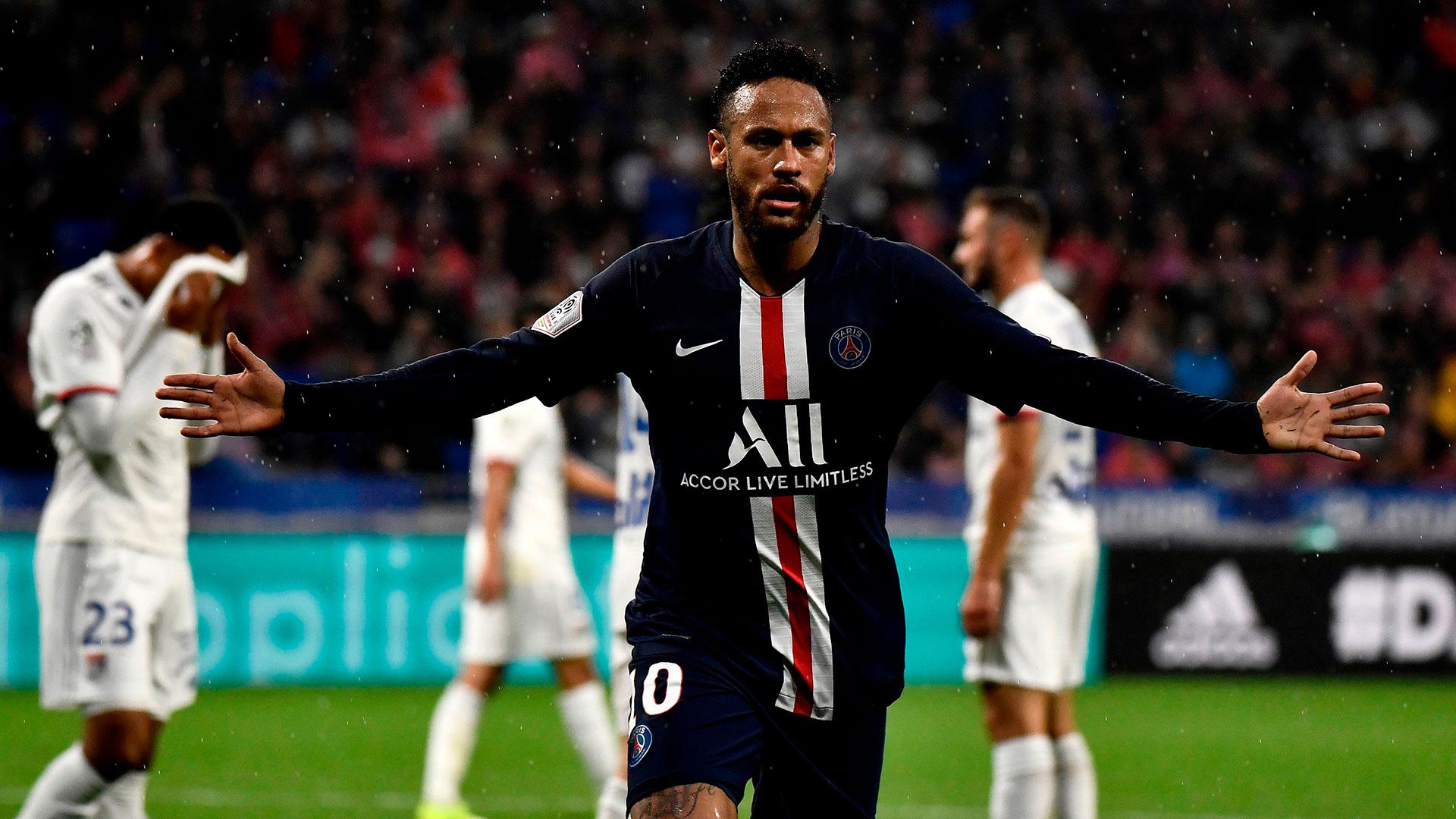 Neymar PSG Lyon Goal Celebration 09222019