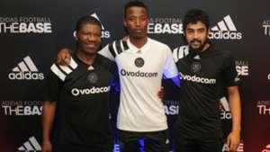 Orlando Pirates legend Jerry Skhosana with Thamsanqa Sangweni and Abbubakar Mobara
