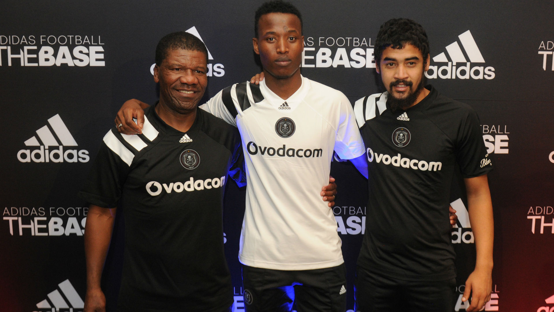 Orlando Pirates legend Jerry Skhosana with Thamsanqa Sangweni and Abbubakar Mobara