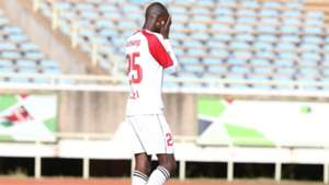 Ulinzi Stars player Enos Ochieng reacts after missed penalty.