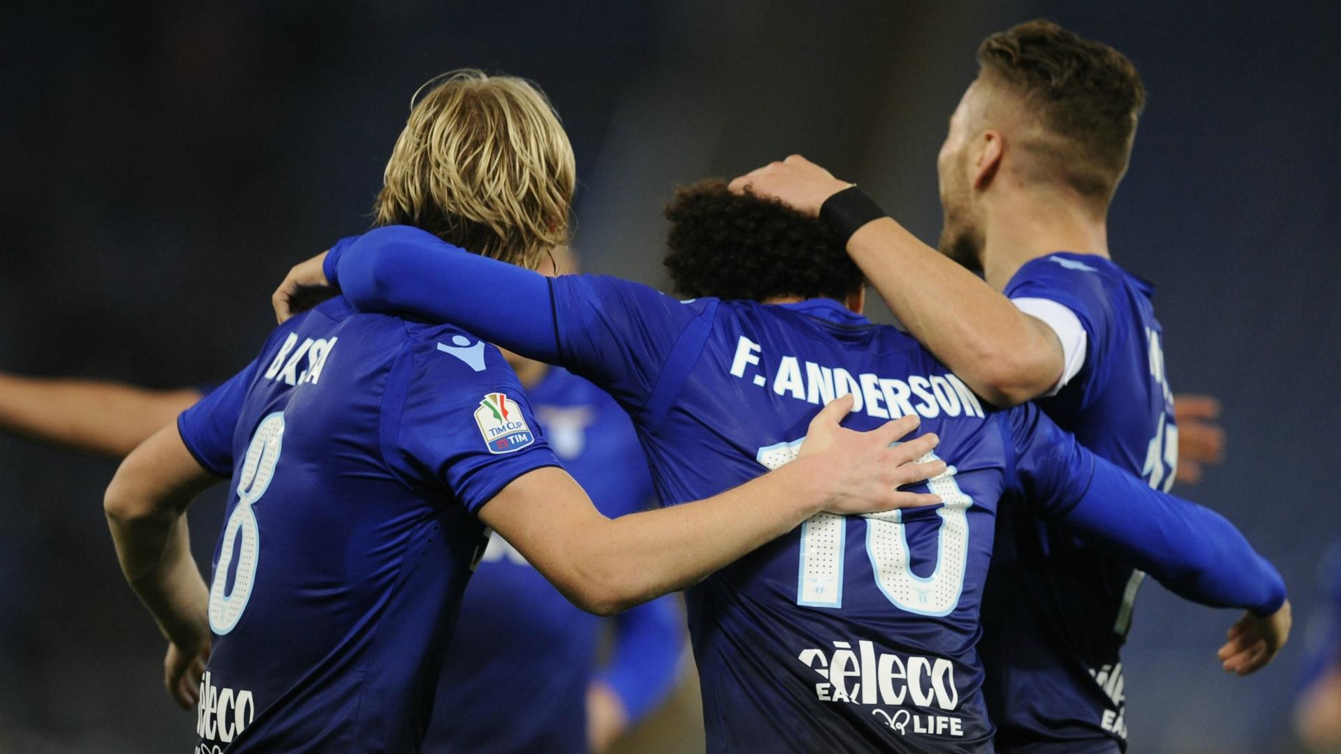 Lazio celebrating Lazio Cittadella Coppa Italia 12142017