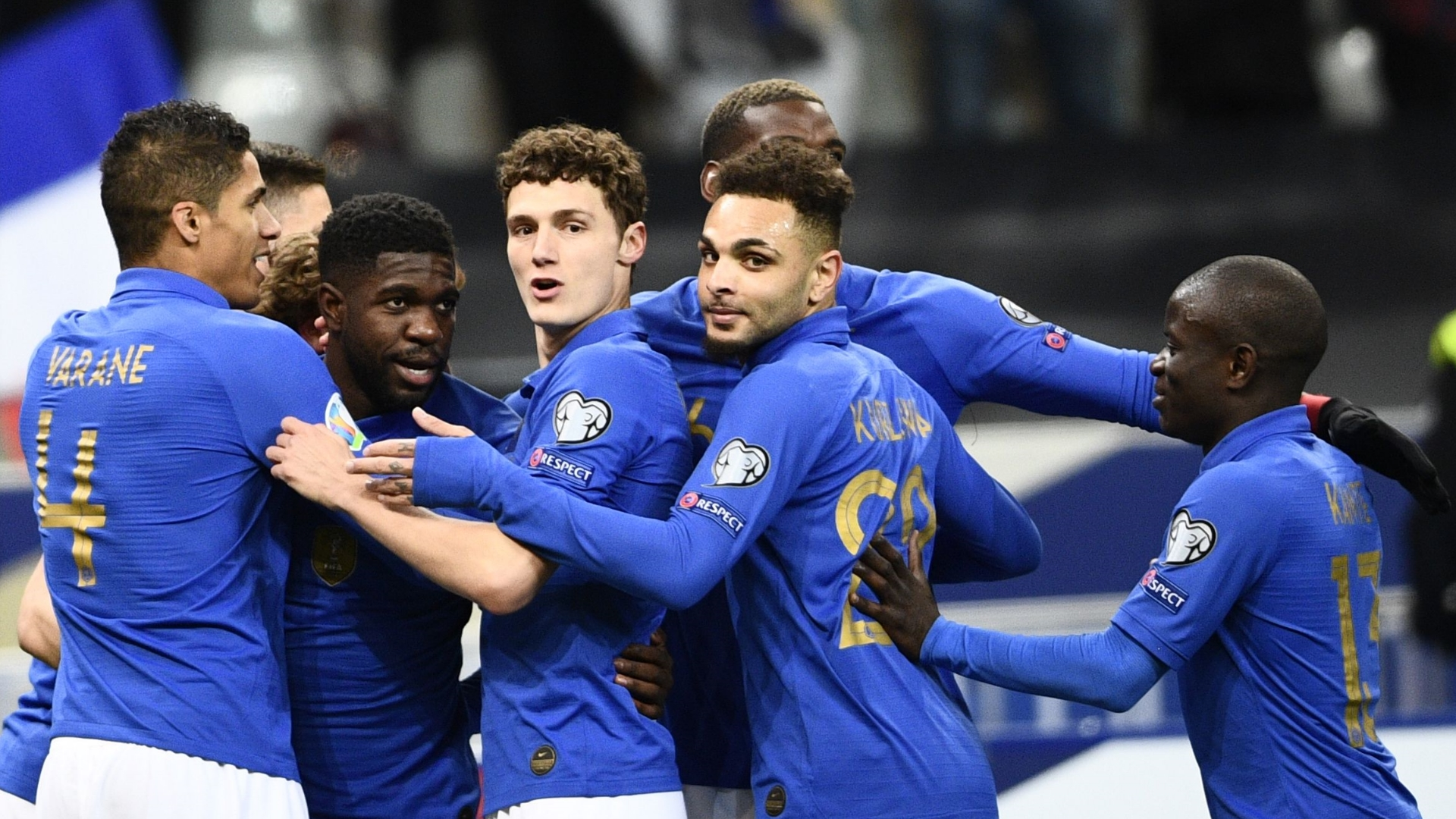 France celebrate vs Iceland 2019 EC Qualifiers