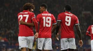 Marouane Fellaini Marcus Rashford Romelu Lukaku Manchester United Basel