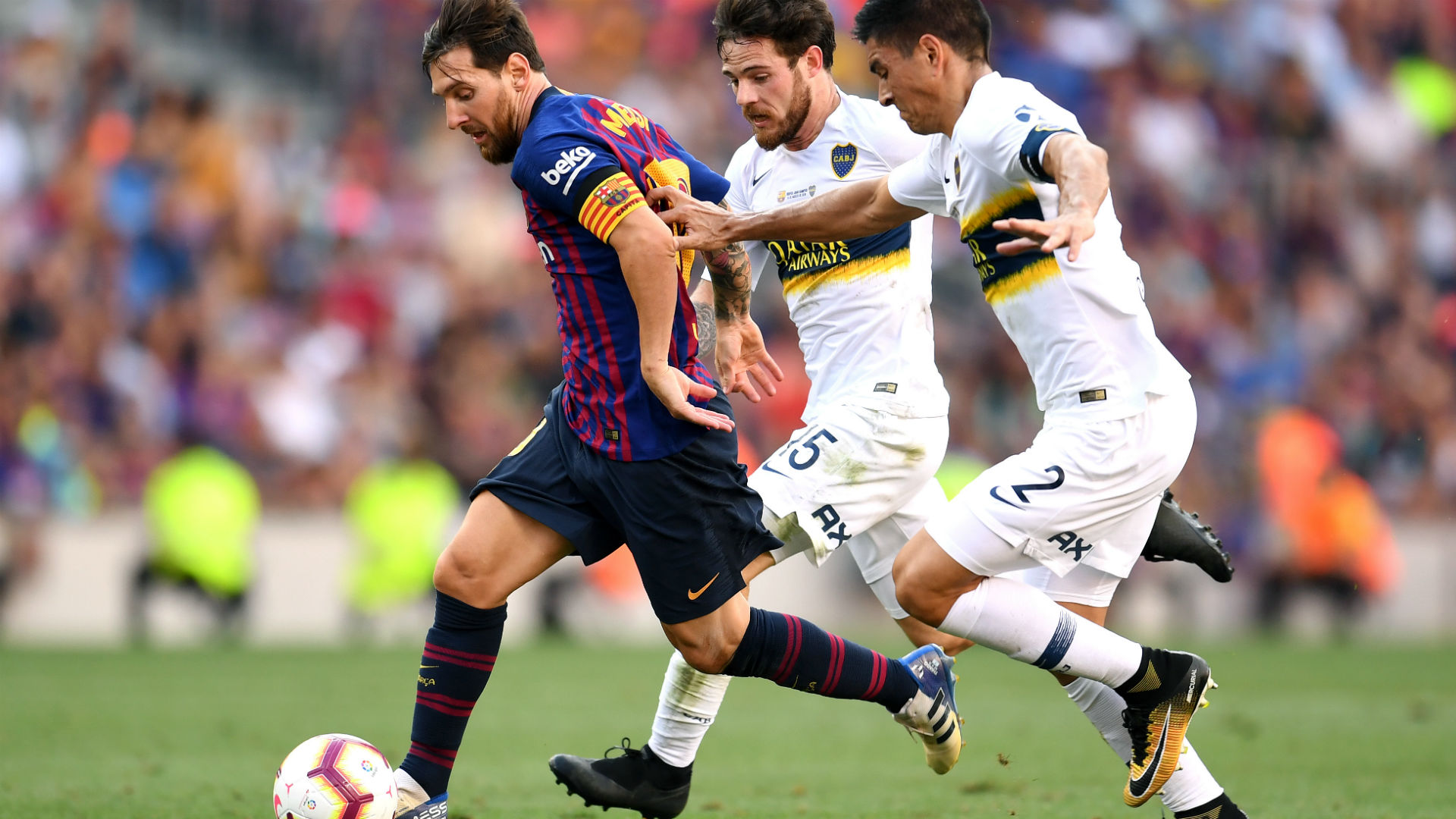 Lionel Messi Paolo Goltz Nahitan Nandez Barcelona Boca Joan Gamper 150818 6be1436cdaf