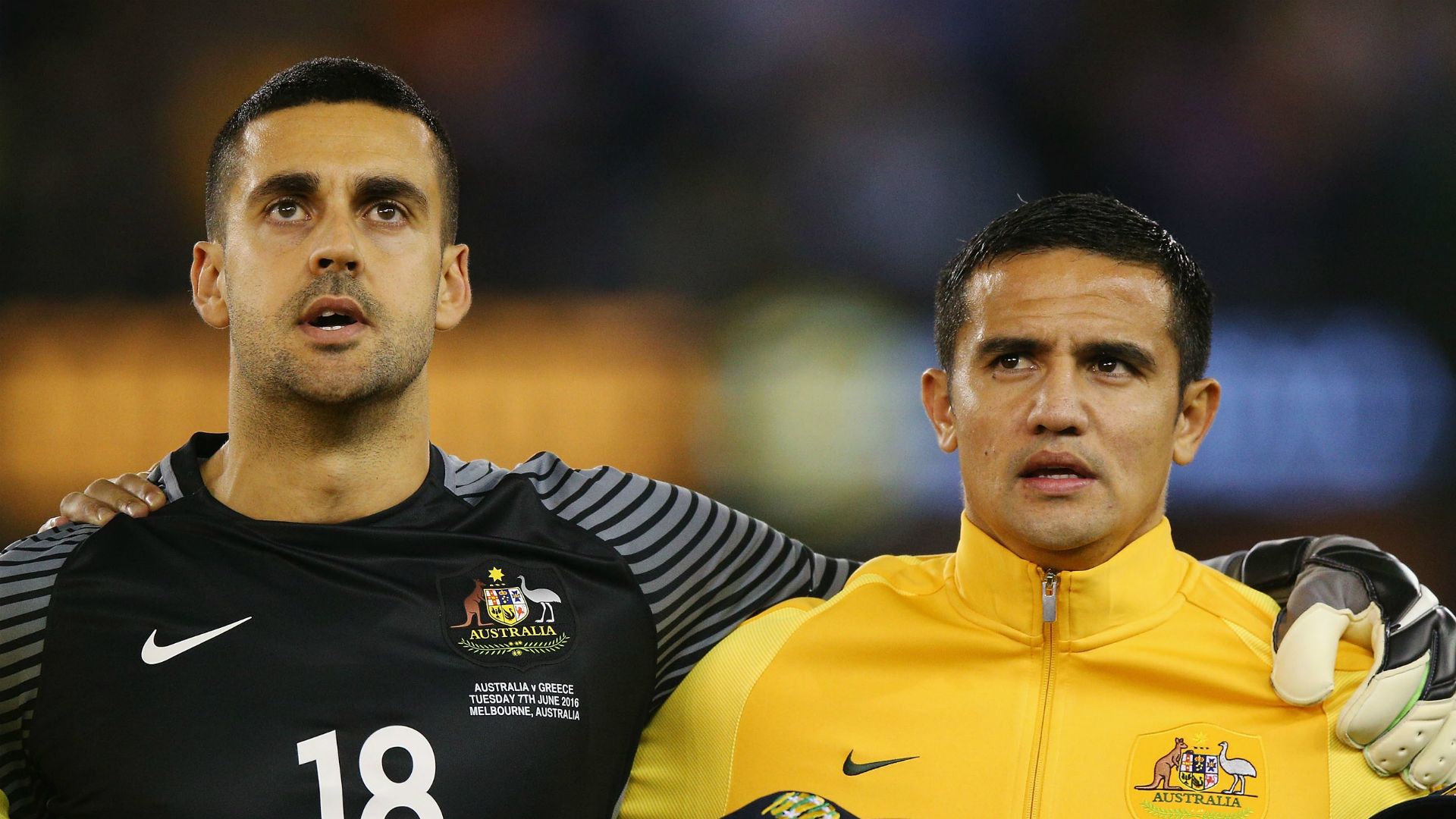 Adam Federici Tim Cahill Australia v Greece Friendly