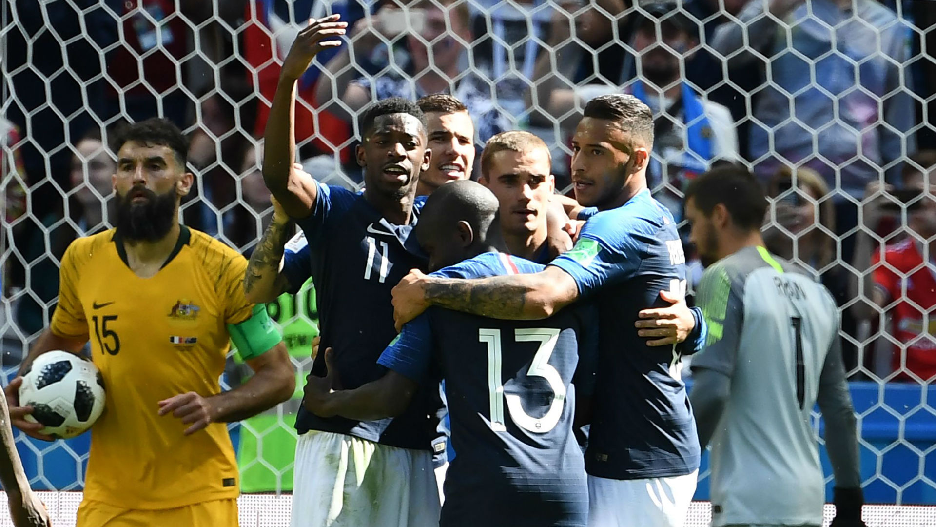 France celebratin Paul Pogba goal France Australia World Cup 2018 16062018.jpg