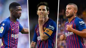 Ousmane Dembele, Lionel Messi, Rafinha, Barcelona composite