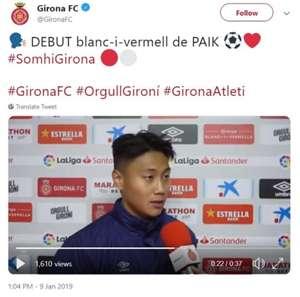 백승호가 1군 데뷔전을 치른 직후 지로나FC와 인터뷰 중이다. 사진=지로나FC 공식 트위터