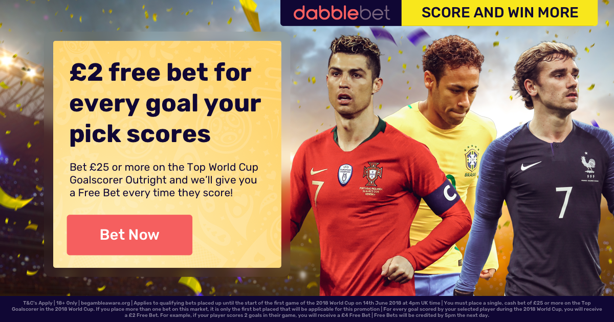 World Cup top scorer promotion from dabblebet