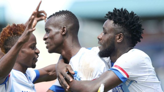 Nakumatt players celebrate v Ulinzi Stars