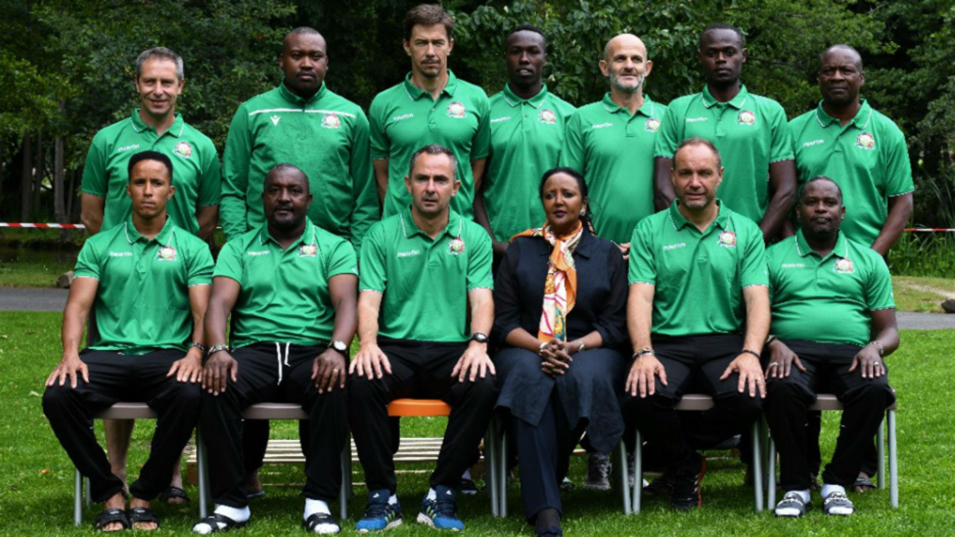 CS Amina with Harambee Stars coach Sebastien Migne.