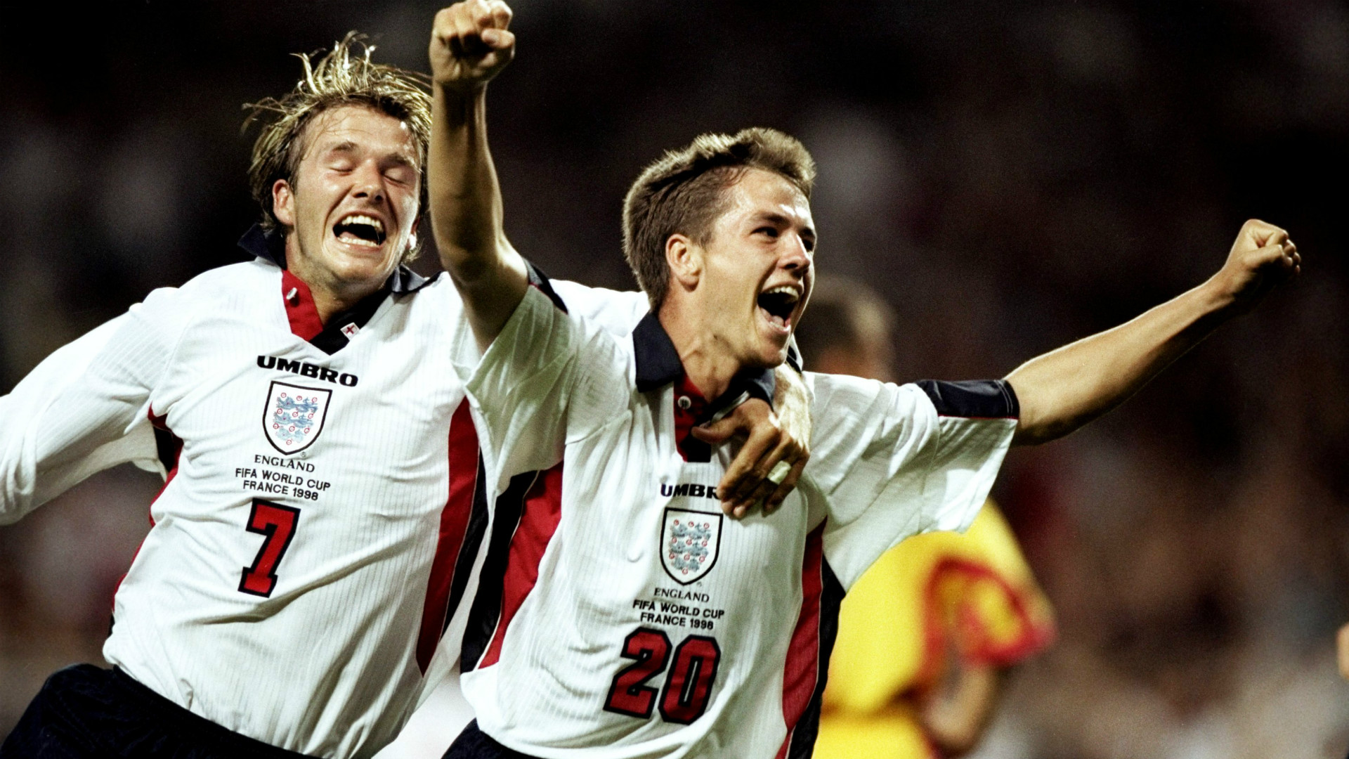 David Beckham Michael Owen England Romania FIFA World Cup 1998