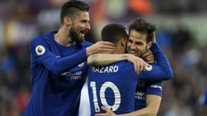 Olivier Giroud, Eden Hazard, Cesc Fabregas, Chelsea 04282018