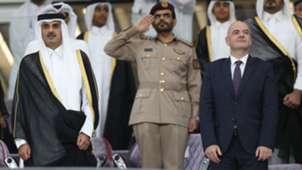 Emir of Qatar Tamim bin Hamad Al Thani Gianni Infantino Al Janoub Stadium Qatar World Cup 2022
