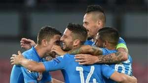 Napoli celebrating, Feyenoord, UEFA Champions League, 26092017