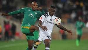 Ntsikelelo Nyauza of Orlando Pirates is challenged by Gift Motupa of Baroka FC