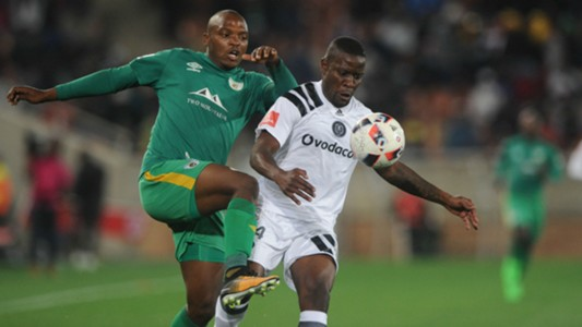 Ntsikelelo Nyauza of Orlando Pirates is challenged by Gift Motupa of Baroka FC