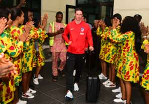 The reigning Europa League champions landed in the Akwa Ibom state capital on Monday evening ahead of Tuesday's friendly with the Super Eagles