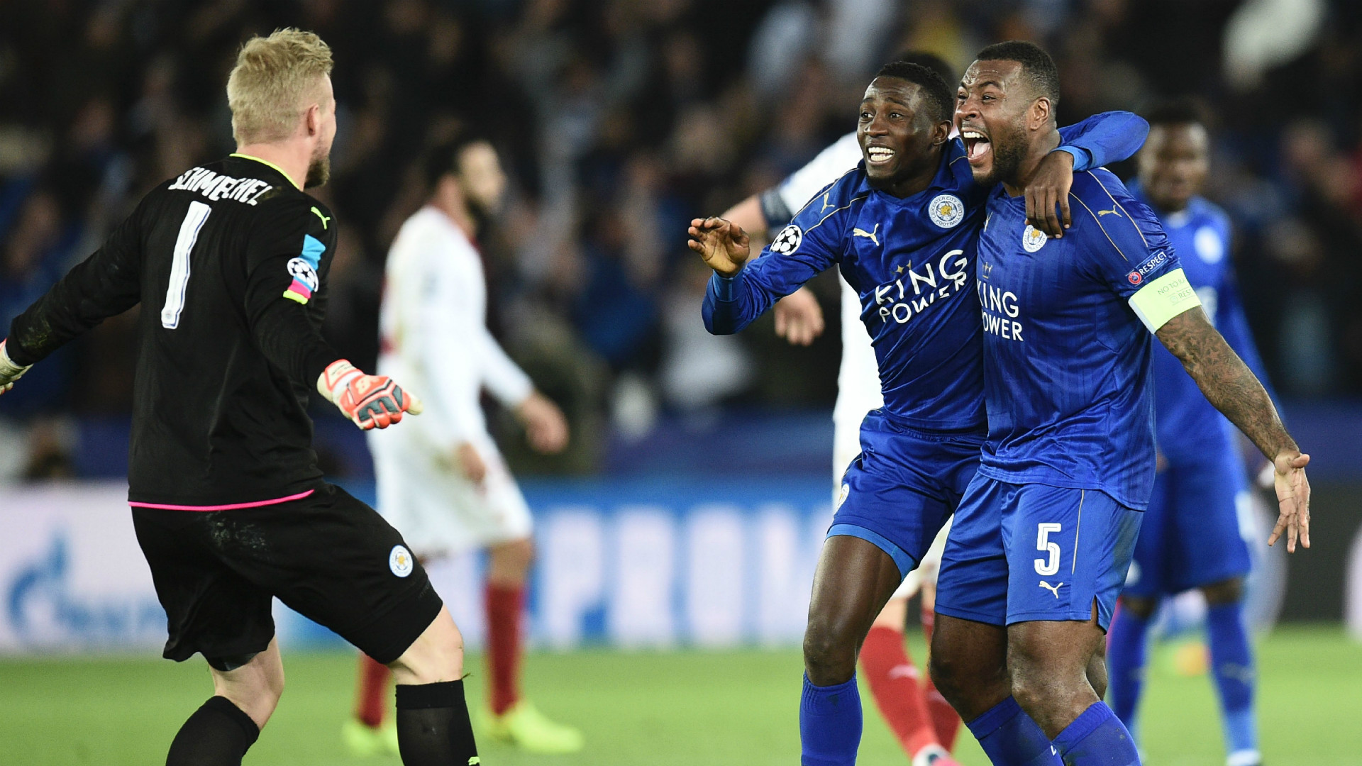 Kasper Schmeichel Wilfred Ndidi Wes Morgan Leicester City