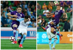 Dino Djulbic Lucian Goian Melbourne City v Perth Glory A-League 23042017