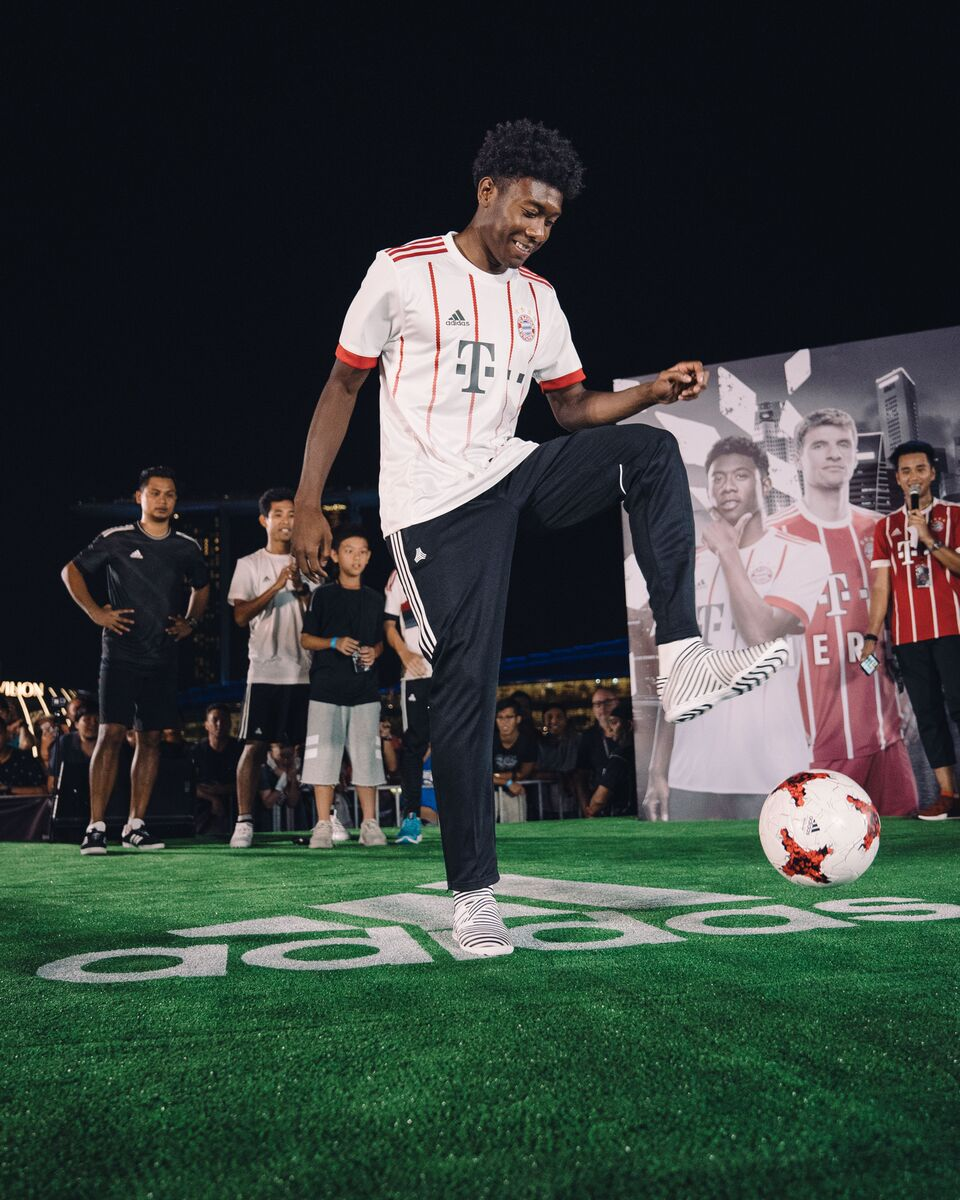 David Alaba in action during the Football Freestyle battle at adidas HERE TO CREAT