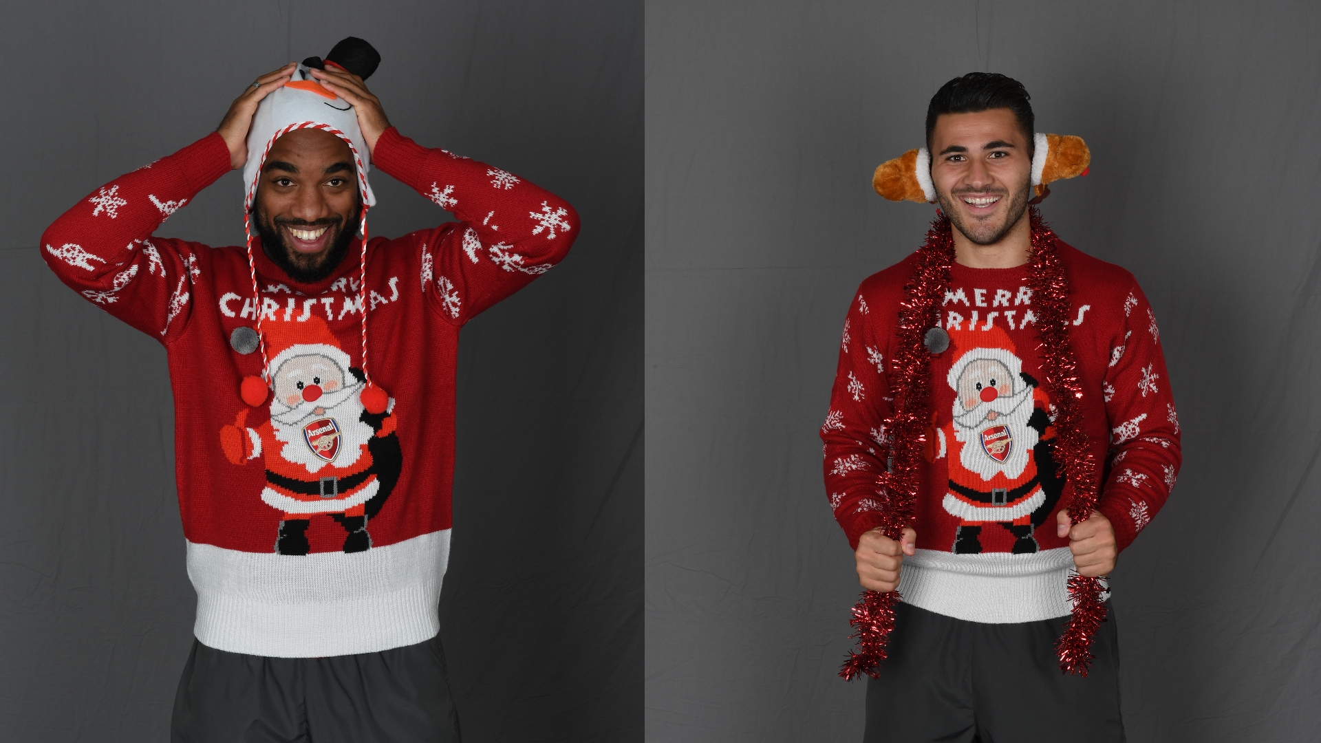 Lacazette, Kolasinac Christmas Jumpers