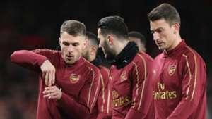 Aaron Ramsey Sead Kolasinac Laurent Koscielny Arsenal