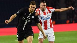 Thomas Meunier Nenad Krsticic PSG Red Star Belgrad UEFA Champions League 03102018