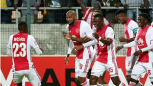 Ajax Cape Town players celebrate Nathan Paulse goal