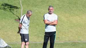 South Africa coach Stuart Baxter and Mark Fish June 18