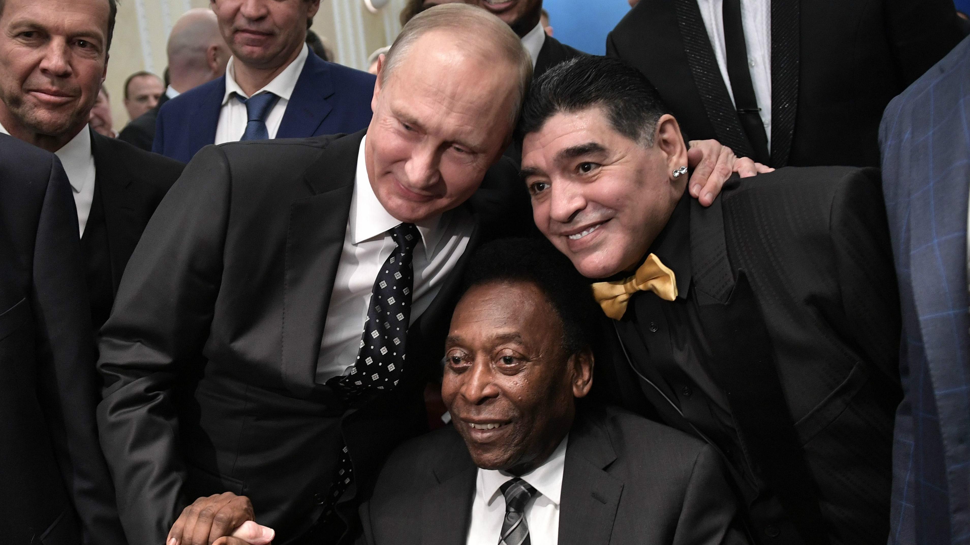 Pelé, Maradona e Putin - Brasil, Argentina e Rússia - Copa do Mundo