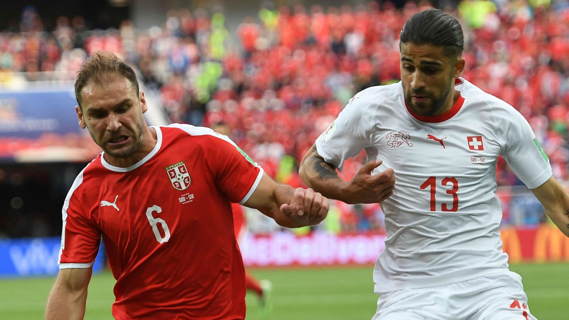 Branislav Ivanovic Serbia Ricardo Rodriguez Switzerland World Cup 201