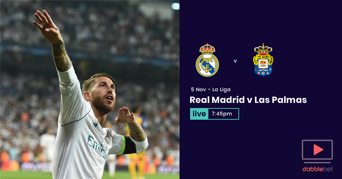 Real madrid Las Palmas watch and bet graphic