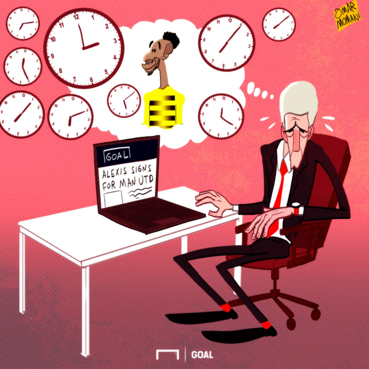 CARTOON Auba leaves Wenger sweating