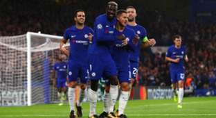 Eden Hazard Gary Cahill Tiemoue Bakayoko Chelsea Qarabag