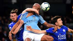 Ben Chilwell, Vincent Kompany, Harry Maguire, Man City vs Leicester 2019