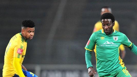 Siphelele Ntshangase of Baroka FC challenged by George Lebese of Mamelodi Sundowns