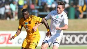 George Maluleka of Kaizer Chiefs challenged by James Keene of Bidvest Wits